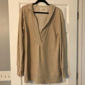 Loft v-neck hooded sweatshirt tunic L